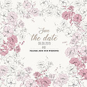 Beautiful Botanical wedding invitation card  design, white and pink hand sketch  flowers