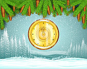 Winter frost landscape with round gold clock from fir tree branch. Christmas horizontal background