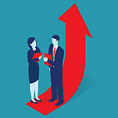 rising red arrow, success, business development