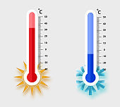 Celsius meteorology thermometers measuring. heat and cold, vector illustration. Thermometer equipment showing hot or cold weather