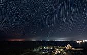Star trails in the night sky in Okinawa Japan.