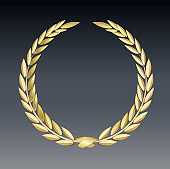 Award laurel isolated on a transparent background. Winner template. Symbol of victory and achievement. Gold laurel wreath. Realistic 3D design. Vector transparent object 10 eps.