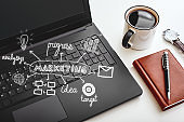 """Find your brand""""u2019s voice. Cropped shot of office desk. Marketing concept"""