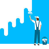 Worker man paints wall. Vector illustration. Eps