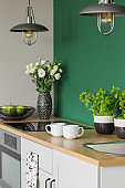 Herbs, flowers, apples, and coffee mugs on kitchen counter