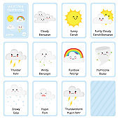 Cute Weather Bilingual Flashcards Vector Collection