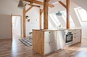 Modern attic white bright kitchen