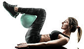 woman pilates fitness soft ball exercises silhouette isolated