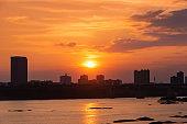 Sunset glow cityscape scene