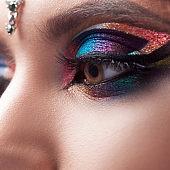 Bright eye makeup, glamorous makeup in Oriental style, glamorous fashion image