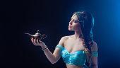Arab night, make a wish at gene's. Fabulous heroine Jasmine with a magic lamp.