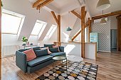 Bright attic living room