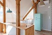 Modern loft kitchen in loft apartment