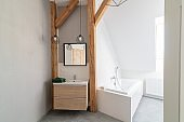 Modern loft bathroom with mirror