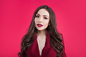 Attractive brunette one tone look. Portrait of stylish attractive young woman