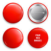 Vector blank red glossy badges or web buttons. Four different plastic pins, emblems, volunteer labels. Front and Back Side. 3d render. Vector.