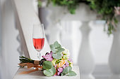 Elegant wedding still life. Bride's bouquet of fresh flowers