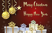 Merry Christmas and Happy New Year with ball and gift boxes