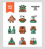 South Korea icon set 2. Include landmark, food, Traditional Culture and more.