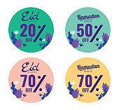 Eid and Ramadan sale banner, sticker set.