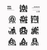 India icon set 3. Include India Spiritual, Hindu, Buddhism and more. Outline icons Design. vector illustration