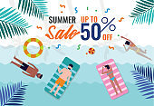 Summer Sale banner. Summer activity on the beach. flat design vector illustration.
