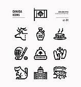 Canada line icon set 1.