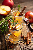 Christmas mulled apple cider with cinnamon and anise, traditional winter warming hot drink, beverage or cocktail
