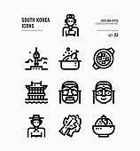 South Korea icon set 3. Include landmark, people, food, art and more. Outline icons Design. vector illustration