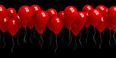 Row of red balloons