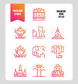 Thailand icon set 2. Include landmark, sculpture, temple, pagoda, elephant and more.
