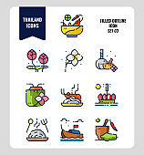 Thailand icon set 3. Include food, flower, festival, landmark and more.