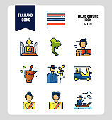Thailand icon set 1. Include flag, map, people, transportation and more.