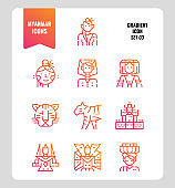 Myanmar icon set 3. Include landmark, people, animal, culture and more.