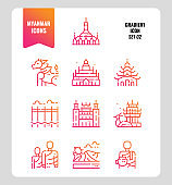 Myanmar icon set 2. Include landmark, people, culture and more.