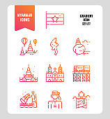 Myanmar icon set 1. Include flag, landmark, people, culture and more. Gradient icons Design. vector