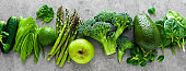Healthy vegetarian food concept background, fresh green food selection for detox diet, raw broccoli, apple, cucumber, spinach, peas, asparagus, avocado, lime, corn salad and mung bean, view from above, flat lay, banner