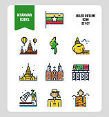 Myanmar icon set 1. Include flag, landmark, people, culture and more.