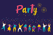 Young People dancing and have fun. Party, celebration,