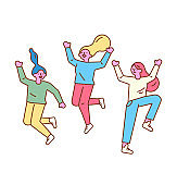ThreeHappy group of young girls jumping.  Line art characters.