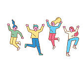 Happy group of young people jumping.  Line art characters.