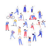Crowd of people arranged in circle shape. Men and women kit. Different walking and running people.