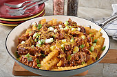 Loaded french fries with BBQ pork and cheese