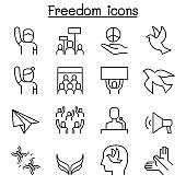 Freedom, peace, protest, demonstration icon set in thin line style