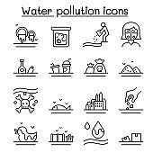 Water pollution icon set in thin line style