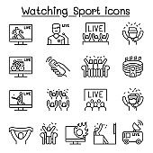 Watching sport on tv, sport broadcasting icon set in thin line style