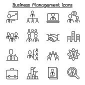 Business management, Business administration icon set in thin line style
