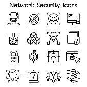 Network Security, Internet firewall icon set in thin line style