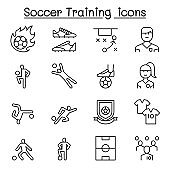 Soccer training, football club icon set in thin line style