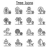 Tree, forest , park icon set in thin line style